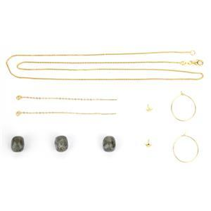 Come On Gold Sheen; Labradorite Half Drill Rounds, Gold Plated Chain, Pegs  Hoop Earrings