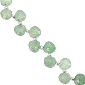 38cts Green Strawberry Quartz Top Side Drill Faceted Heart Approx 5x5 to 7x7mm, 20cm Strand with Spacers