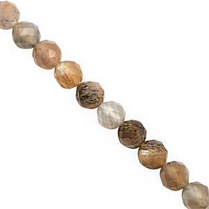 30cts Multi-Colour Moonstone Faceted Round Approx 3 to 4mm, 30cm Strand