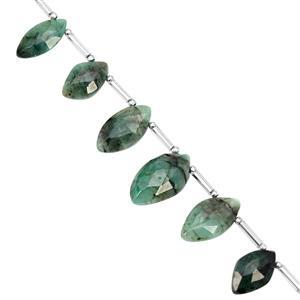 35cts Emerald Top Side Drill Graduated Faceted Marquise Approx 9.5x6 to 15x8mm, 14cm Strand with Spacers