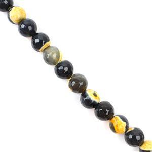 260cts Black & Orange Agate Faceted Rounds Approx 10mm, 38cm strand