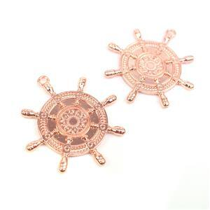 Rose Gold Colour Bezel Pendant in Boat Wheel Shape Approx 45x50mm (Set of 2)