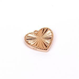 Rose Gold Plated 925 Sterling Silver Heart Pendant Approx 16mm