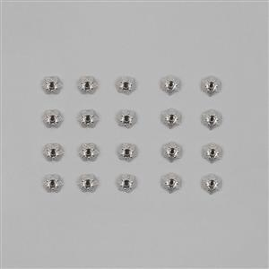 Silver Plated Alloy Carved Star Caps - 6mm (20pcs/pk)