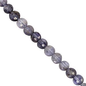 22cts Blue Iolite Faceted Puffy Coin Approx 4mm, 30cm Strand