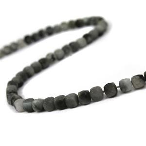 50cts Hawk's Eye Quartz Faceted Cubes Approx 4mm, 38cm Strand