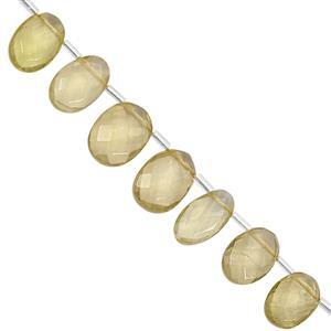 75cts Lemon Quartz Top Side Drill Graduated Faceted Oval Approx 9x7.5 to 15x10.5mm, 19cm Strand with Spacers