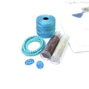 Lagoon! Inc; Blue Opalus Cabochon, Nile Blue S-Lon, Glass Pears & Miyuki 15/0