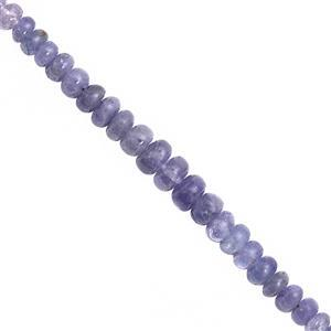 45cts Tanzanite Smooth Rondelle Approx 4.5x2 to 5x2mm, 23cm Strand