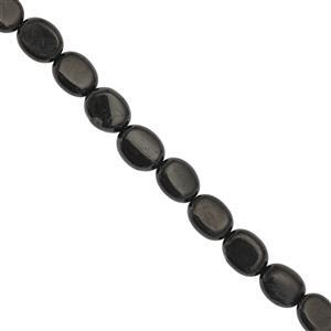 28cts Black Jet Smooth Oval Approx 9.5x7.5 to 10x8mm, 20cm Strand