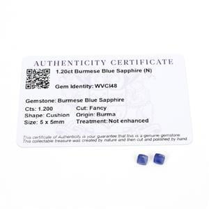 1.2cts Burmese Blue Sapphire 5x5mm Cushion Pack of 2 (N)