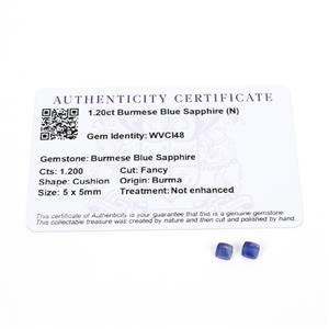 1.2cts Burmese Blue Sapphire 5x5mm Cushion Pack of 2 (N)