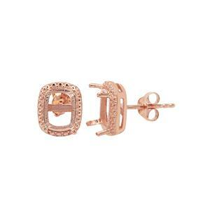 Rose Gold Plated 925 Sterling Silver Cushion Cut Earring Mounts With Side Detail (To fit 8x6mm gemstone) - 1 Pair