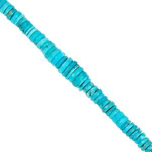 20cts Kingman Turquoise Graduated Faceted Wheels Approx 3x1 to 7x2mm, 10cm Strand