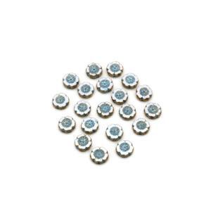 Precisoa Ornela Chalk White Pale Blue Table Cut Hawaiian Flower Beads, 14mm (20pk)