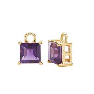 Gold Plated 925 Sterling Silver Square Charm With 1.50cts Amethyst Approx 5mm (2pcs)