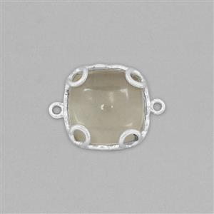 925 Sterling Silver Gemstone Connector Approx 23x17mm Inc. 10cts Green Amethyst Cushion Cabochon Approx 15mm
