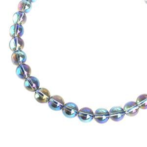 250cts Blue Coated Clear Quartz Plain Rounds Approx 10mm, 38cm strand