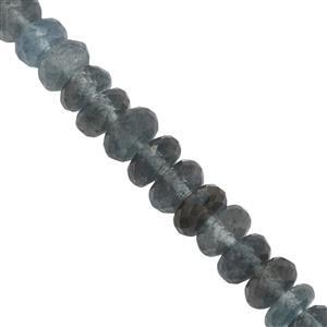 52cts Moss Aquamarine Graduated Faceted Rondelles Approx 4.5x2 to 7.5x4mm, 17cm Strand