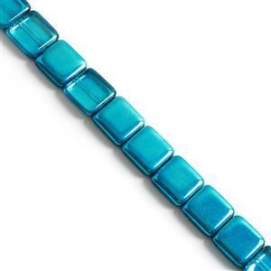 Czech Glass Apollo Square Beads, Labrador Blue Zircon Approx 15x15mm (12pcs)