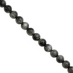 Spooky Steal Deal! 78cts Midnight Cats Eye Quartz Smooth Round Approx 6mm, 30cm Strand