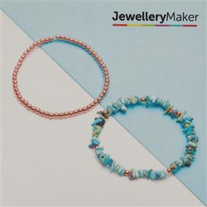 Rose Gold Plated 925 Sterling Silver Bead & Turquoise Bracelets Kit
