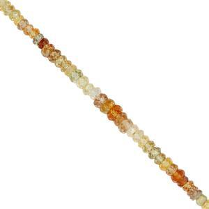 33cts Golden Zircon Graduated Faceted Rondelles Approx 2.50x1 to 5x3mm, 17cm Strand