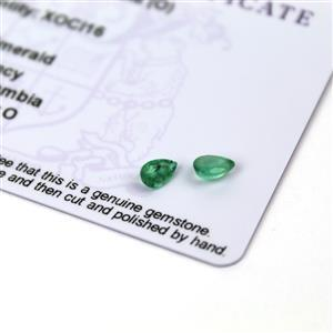 0.5cts Zambian Emerald 6x4mm Pear Pack of 2 (O)