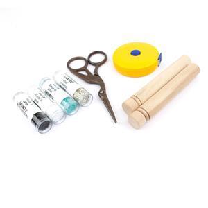 Black Scissors Kit; Retractable Tape Measure, Scissors, Wooden Needle Case & 4 x 11/0 Delicas with Booklet by Monika Soltesz