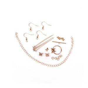 Rose Gold Plated Base Metal Butterfly Findings Pack (28pcs)