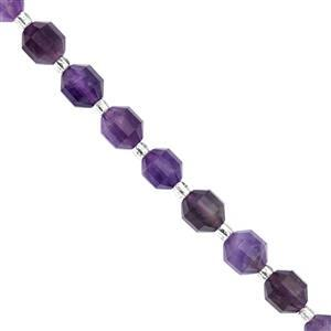 120cts Amethyst Faceted Satellite Cut Approx 7x8mm, 38cm Strand With Spacer
