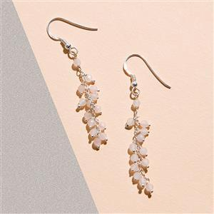 925 Sterling Silver Waterfall Earrings Kit With Rose Quartz Rondelles (1pair)