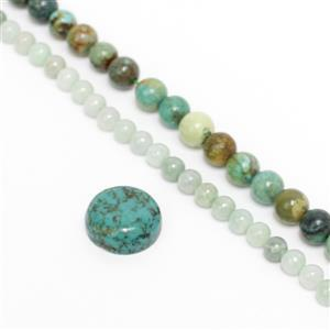 80cts Turquoise/60cts Jadeite Plain Rounds Approx 6/4mm, 38cm Strand and 6cts Turquoise Round Cabochon Approx 14mm
