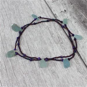 Iris: Bronze hemp cords,Aquamarine drilled rough,purple terra jasper,Iris 11/0,purple cord