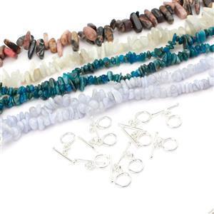 Blue Nuggets Bundle; 4 Strands & Clasp