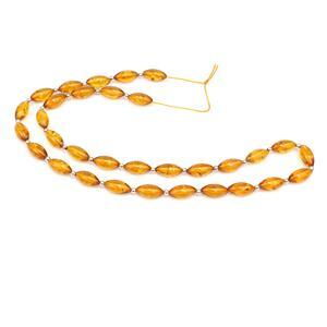 Baltic Cognac Amber Marquise Bead 10x5mm Strand 38cm, Sterling Silver Spacer Beads