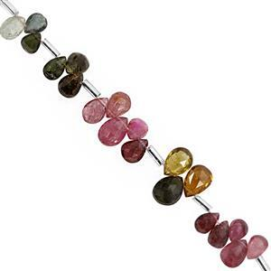 CLOSE OUT DEAL 35cts Multi Tourmaline Graduated Top Side Drill Faceted Pear Approx 5.5x4 to 9x6mm, 19cm Strand with Spacers