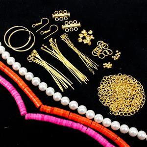 Tropicana; Fuchsia & Orange Magnesite Heshi Beads, White Shell Pearl Rounds with Gold Plated Findings