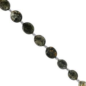70cts Feather Pyrite Smooth Oval Approx 7x8 to 9.5x11mm, 20cm Strand With Spacers