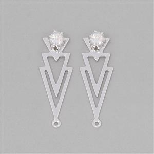 925 Sterling Silver Multi Triangle Ear Jacket Approx 28x10mm Inc. 0.68cts White Topaz Round Approx 4mm (1 Pair)
