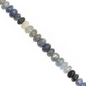 45cts Blue Shaded Sapphire Smooth Rondelle Approx 3x1 to 5x2.5mm, 20cm Strand