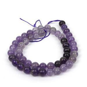 170cts Ombre Amethyst Plain Rounds Approx 8mm, 38cm Strand
