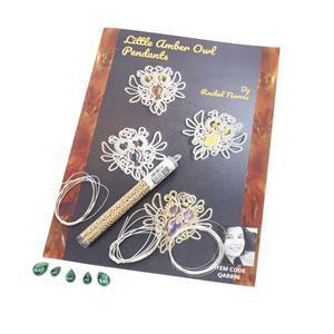 Little Malachite Sterling Silver Owls Kit & Booklet by Rachel Norris