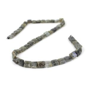110cts Labradorite Faceted Squares Approx 8mm, 38cm Strand
