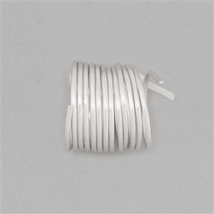 1m 925 Sterling Silver Half-Round Wire With Rhodium Approx 1.0mm