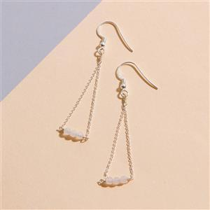 925 Sterling Silver Trapeze Earrings Kit With Rose Quartz Rondelles (1pair)