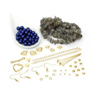 Heart Throb; Glass Pearl, Labradorite, Mother of Pearl & G/P Heart Connectors & Findings