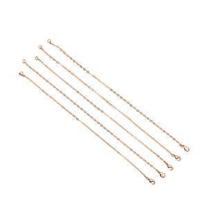 Rose Gold Plated Base Metal Charm Bracelets, Approx. 20cm (5pk)