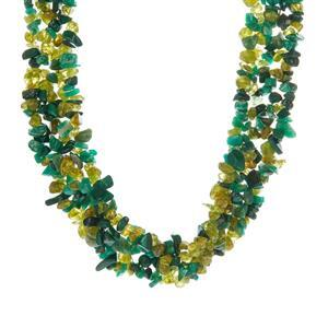 Changbai Peridot, Amazonite & Malachite Sterling Silver Necklace ATGW 670.35ct