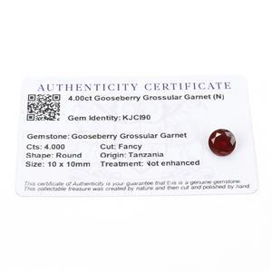 4cts Gooseberry Grossular Garnet 10x10mm Round  (N)